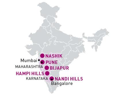 """Zwischen Mumbai, Nashik und Pune liegt Indiens """"Vinologisches Dreieck"""" mit 80 Prozent aller Weingüter. In Nandi Hills bei Bangalore befindet sich das zweitgrößte Anbaugebiet (10 Prozent)."""