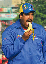 Picture of Nicolás Maduro with banana