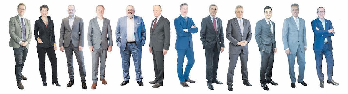 CEOs in conversation with corporAID. 2017 were Stefan Szyszkowitz (EVN), Sabine Herlitschka (Infineon Technologies Austria), Alejandro Plater (Telekom Austria Group), Jan Vanbrabant (Erber Group), Josef Lampert (Getzner Textile) and Veit Schmid-Schmidsfelden (Rupert Fertinger Group). 2018 were Christian Knill (Knill Group), Thomas Birtel (Strabag), Florian Teufelberger (Teufelberger), Stefan Engleder (Angel), Rainer Seele (OMV), Robert Machtlinger (FACC).