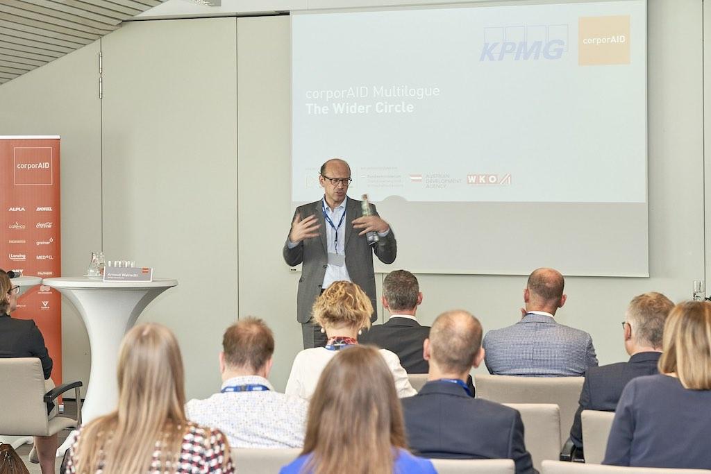 Begrüßung durch Bernhard Weber, Geschäftsführer ICEP, beim corporAID Multilogue: The Wider Circle am 12. September 2019 in Wien