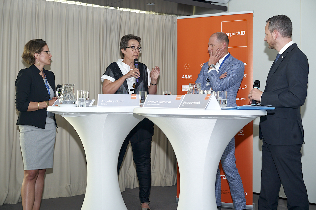 Sophie Langer-Hansel (ICEP), Angelika Guldt (Lenzing), Arnoud Walrecht (KPMG), Bernhard Heneis (OMV) beim corporAID Multilogue: The Wider Circle am 12. September 2019 in Wien