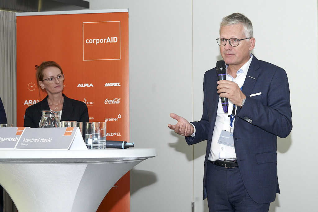 Manfred Hackl (EREMA) und Dorothea Wiplinger (Borealis) beim corporAID Multilogue: The Wider Circle am 12. September 2019 in Wien