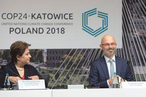 Vieles Geklärt Patricia Espinosa, Präsidentin der VN-Klimarahmenkonvention, und Michael Kurtyka, Vorsitzender des Klimagipfels in Katowitz 2018