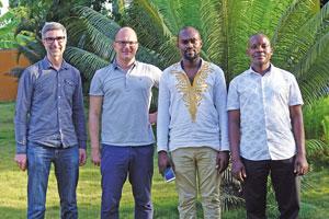 Das Biotan-Management Paul Schreilechner, Johannes Siller, Moses Shimba und Bahati Mayoma (v.l.n.r.)