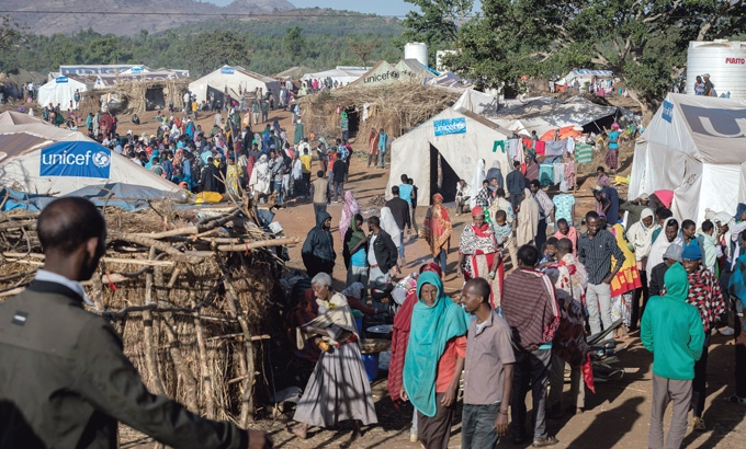 Humanitarian aid in the refugee camp in Ethiopia