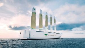 200 meter cargo ship with wind propulsion: currently still a vision of the future.